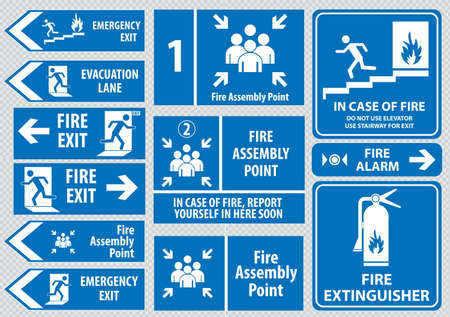 evacuation: Set of emergency exit Sign fire exit emergency exit fire assembly point evacuation lane