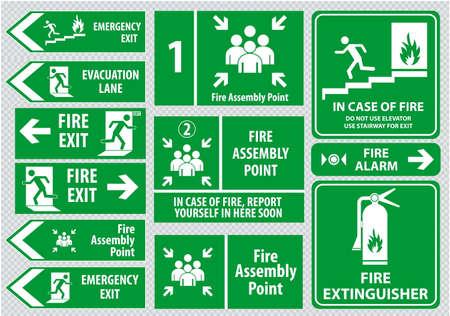 salida de emergencia: Conjunto de salida de emergencia de incendios Se�al de salida de emergencia carril punto de evacuaci�n ensamblaje fuego salida. Vectores