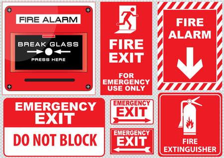 Conjunto de fuego alarma de incendio alarma de prensa vidrio descanso aquí salida de incendios para uso de emergencia única salida de emergencia no bloquee extintor fácil de modificar Foto de archivo - 40222316