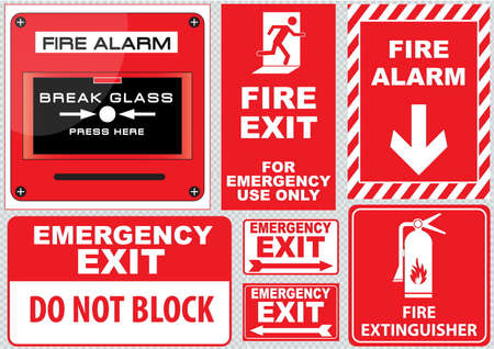 building fire: Set of Fire Alarm fire alarm break glass press here fire exit for emergency use only emergency exit do not block fire extinguisher easy to modify