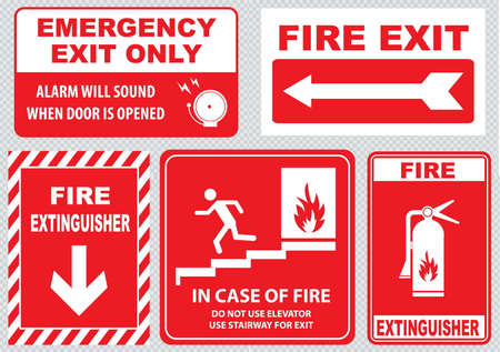 Set Of Fire Alarm fire exit emergency exit only alarm will sound when door is opened fire extinguisher do not use elevator use stairway in case of fire. easy to modify.
