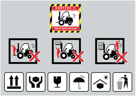 forklift truck: Forklift caution keep clear traffic warning and cardboard sign Illustration