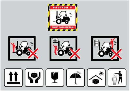 Heftruck voorzichtigheid vrij blijven verkeer waarschuwing en kartonnen bord