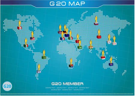 g20: G20 country in 3D flags style with dotted world map or flags of the world economic G20 country flag illustration Illustration