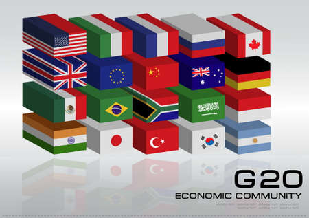 world economy: G20 country in 3D flags style with dotted world map or flags of the world economic G20 country flag illustration Illustration