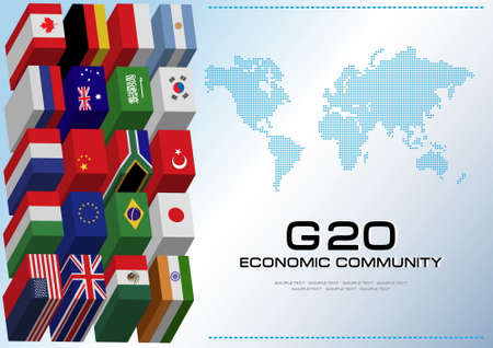 world flags: G20 country in 3D flags style with dotted world map or flags of the world economic G20 country flag illustration Illustration