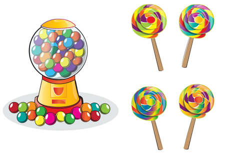 Gumball machine and Lollipop isolated doodle style