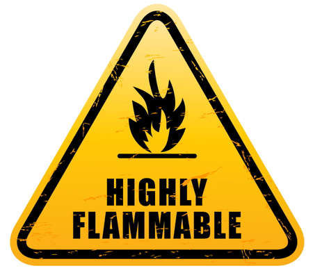 combustible: Flammable Warning Sign highly flamable sign. easy to remove sracth Illustration