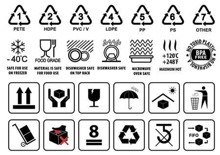 envases de plástico: Símbolos de reciclaje de plástico vajilla signo y embalaje de cartón o Símbolos ilustración. Vectores
