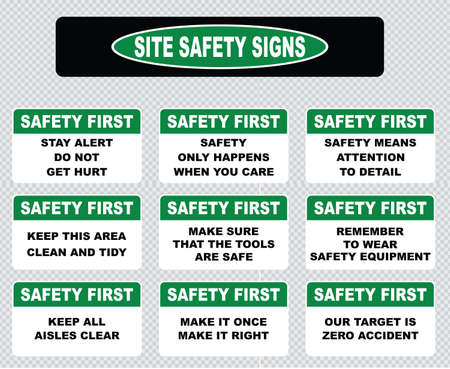 safety at work: Site safety sign or safety first sign