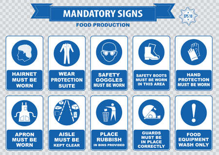 safety goggles: Food Production Mandatory Signs Illustration