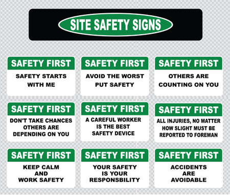work safety: Site safety sign or safety first sign