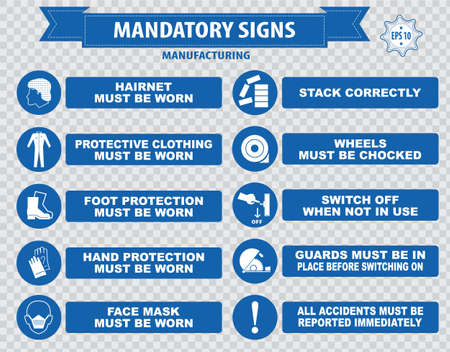 correctly: Manufacturing Mandatory Signs hairnet must be worn, stack correctly, wheels must be choked, boots, gloves, face mask, dust mask, guards, show you id cards, place rubbish in bins Illustration