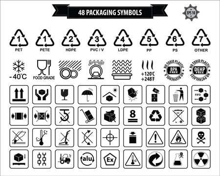 Ensemble d'emballage Symboles ce côté jusqu'à, manipuler avec précaution, fragile, garder au sec, garder loin de la lumière solaire directe, ne laissez pas tomber, ne pas jeter, utiliser uniquement le chariot, utiliser le système FIFO, carton max, recyclable.