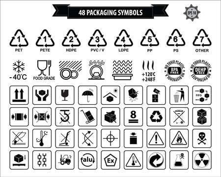 Set Of Packaging Symbols this side up, handle with care, fragile, keep dry, keep away from direct sunlight, do not drop, do not litter, use only the trolley, use fifo system, max carton, recyclable. 向量圖像