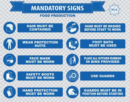 wash machine: Food Production Mandatory Signs Illustration