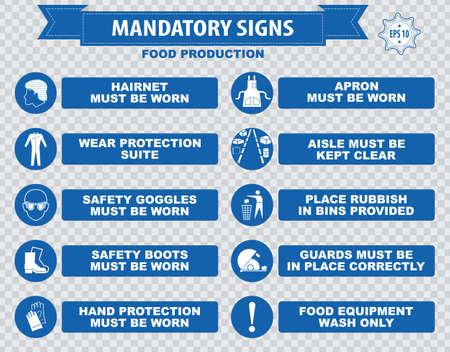 mandatory: Food production mandatory sign Illustration