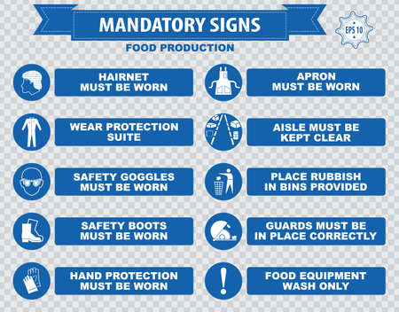 food production: Food production mandatory sign Illustration