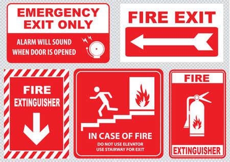 emergencia: Salida de emergencia contra incendios Vectores