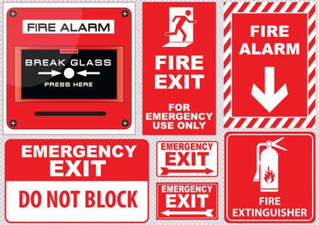 manejar: Salida de emergencia contra incendios Vectores