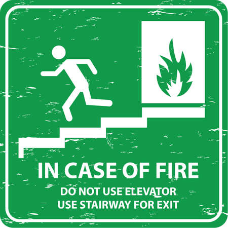 evacuate: Emergency Exit in vintage style. easy to remove scratch. Illustration