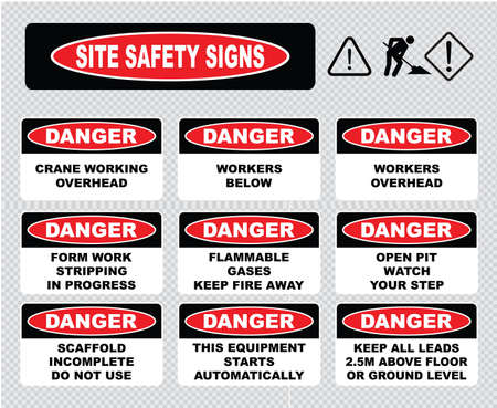 overhead crane: Site Safety Signs crane working overhead, workers below, flammable gases, open pit watch your step, scaffold incomplete do not use, this equipment starts automatically, workers overhead.