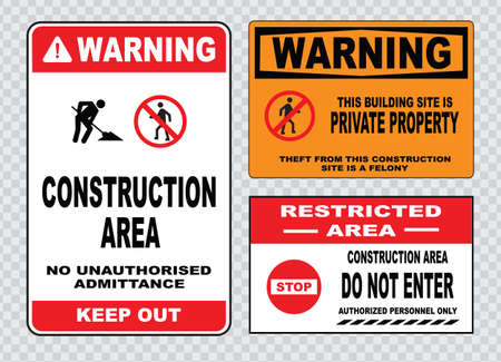 building site: site safety sign or construction safety construction area, no unauthorized admittance keep out, this building site is private property, do not enter, restricted area.