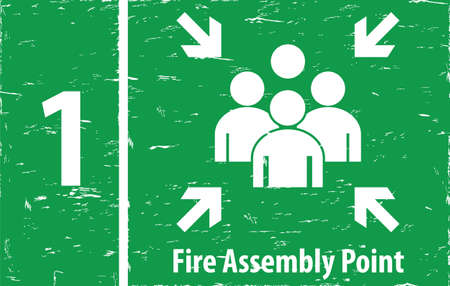 assembly point: FIre Assembly Point in vintage style. easy to remove scratch. Illustration