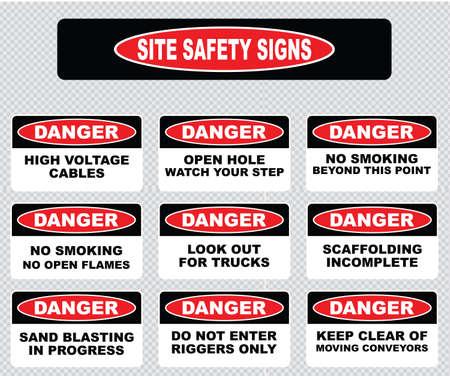 señales de seguridad: varios signo de peligro, señales de seguridad web cables de alta tensión, pozo abierto ver su paso, no hay llamas, no fumar más allá de este punto, el andamiaje incompleto, chorro de arena en el progreso, mantenerse separado Vectores