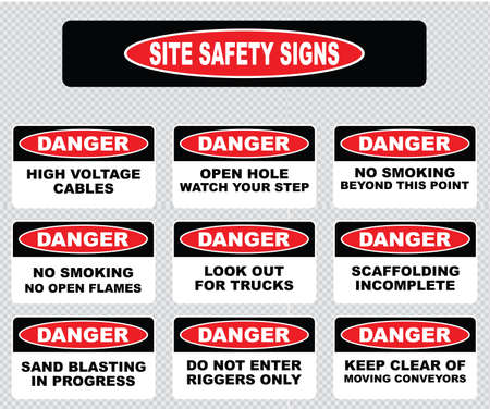 dangers: various danger sign, site safety signs high voltage cables, open hole watch your step, no open flames, no smoking beyond this point, scaffolding incomplete, sand blasting in progress, keep clear