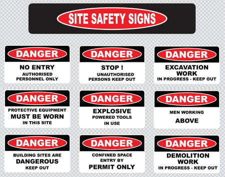 danger signs: various danger sign, site safety signs no entry authorized personnel only, excavation work in progress, protective equipment must be worn, explosive powered tools in use, men working above.