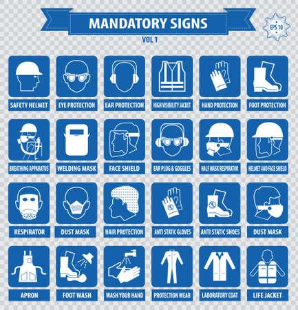 señales de seguridad: señal de seguridad sanitaria signos construcción obligatoria usado en aplicaciones industriales respirador protección protección protección guantes casco de seguridad oído ojo pie redecilla máscara delantal antiestático Vectores