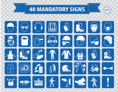 health dangers: mandatory signs construction health safety sign used in industrial applications safety helmet gloves ear protection eye protection foot protection hairnet respirator mask antistatic apron