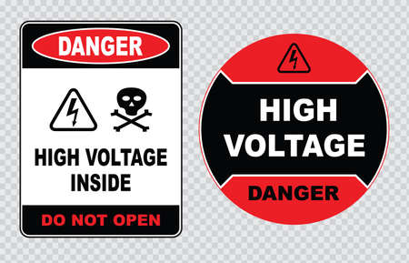 voltage: high voltage sign or electrical safety sign high voltage electric fence can cause serious injury or death do not entry skull