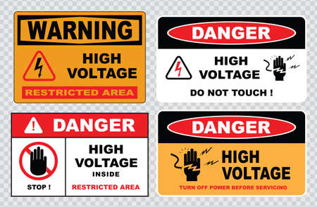 voltage sign: high voltage sign or electrical safety sign high voltage electric fence can cause serious injury or death do not entry skull
