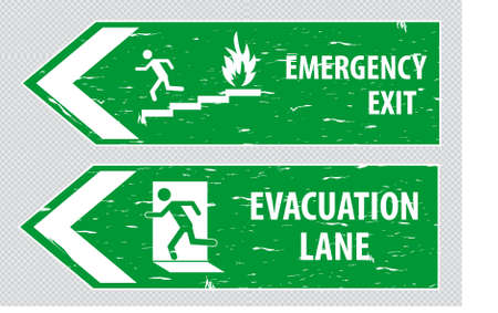 emergency exit: Emergency Exit or FIre Assembly Point Illustration