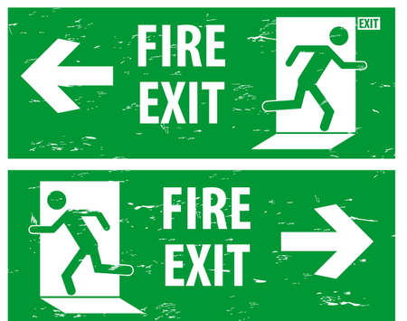 exit sign: Fire Assembly Point and emergency exit Sign