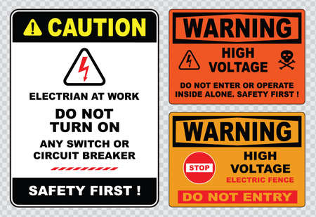 high voltage sign or electrical safety sign high voltage electric fence can cause serious injury or death do not entry skull