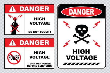 electrical safety: high voltage sign or electrical safety sign high voltage inside do not open high voltage within keep out do not touch.