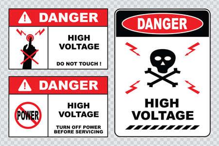 hacer: signo de alta tensión o la seguridad eléctrica de alta tensión en el interior firman no abra alta tensión dentro de mantener fuera no toque. Vectores