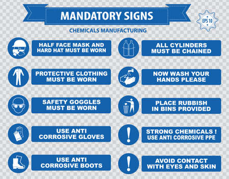 regulatory: Chemical or Medical Mandatory sign hair contained corrosive gloves boots safety goggles explosive gas no open flame chemical hazard poison gas breathing apparatus avoid contact skin Illustration