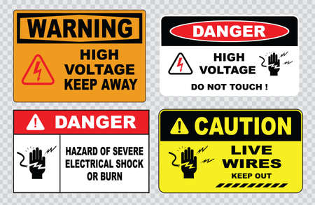 Alta tensione o la sicurezza elettrica segno di alta tensione all'interno non aprire ad alta tensione all'interno tenere fuori non toccare. Archivio Fotografico - 40811810