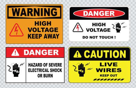 advertencia: signo de alta tensión o la seguridad eléctrica de alta tensión en el interior firman no abra alta tensión dentro de mantener fuera no toque. Vectores