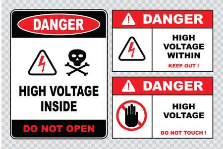 not open: Alta tensione o la sicurezza elettrica segno di alta tensione all'interno non aprire ad alta tensione all'interno tenere fuori non toccare.