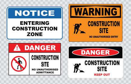 herramientas de trabajo: El sitio muestra de seguridad o área de construcción seguridad en la construcción sin área de construcción admisión peligro no autorizada, no escribas advertencia obra de construcción.