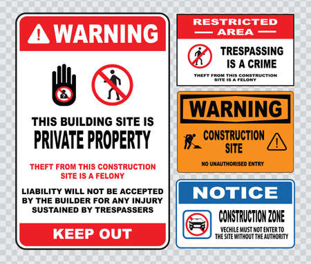 unauthorized: site safety sign or construction safety construction area no unauthorized admittance danger construction area do not enter warning construction site.