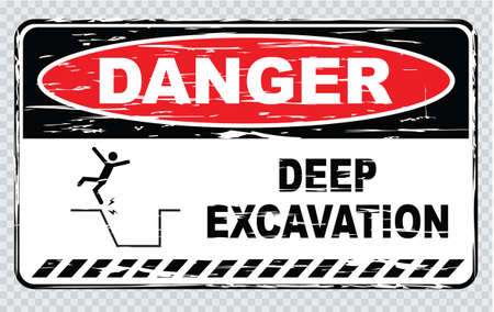 not open: danger deep excavation do not enter open excavation protection keep out.