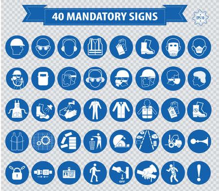 warnem      ¼nde: Gebotszeichen Bau Gesundheitssicherheitszeichen in der Industrie-Schutzhelm Handschuhe Gehörschutz Augenschutz Fußschutz Haarnetz Atemschutzmaske antistatische Schutzblech verwendet