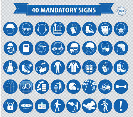 warning signs: mandatory signs construction health safety sign used in industrial applications safety helmet gloves ear protection eye protection foot protection hairnet respirator mask antistatic apron