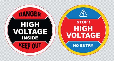 peligro: signo de alta tensión o la seguridad eléctrica de alta tensión en el interior firman no abra alta tensión dentro de mantener fuera no toque. Vectores